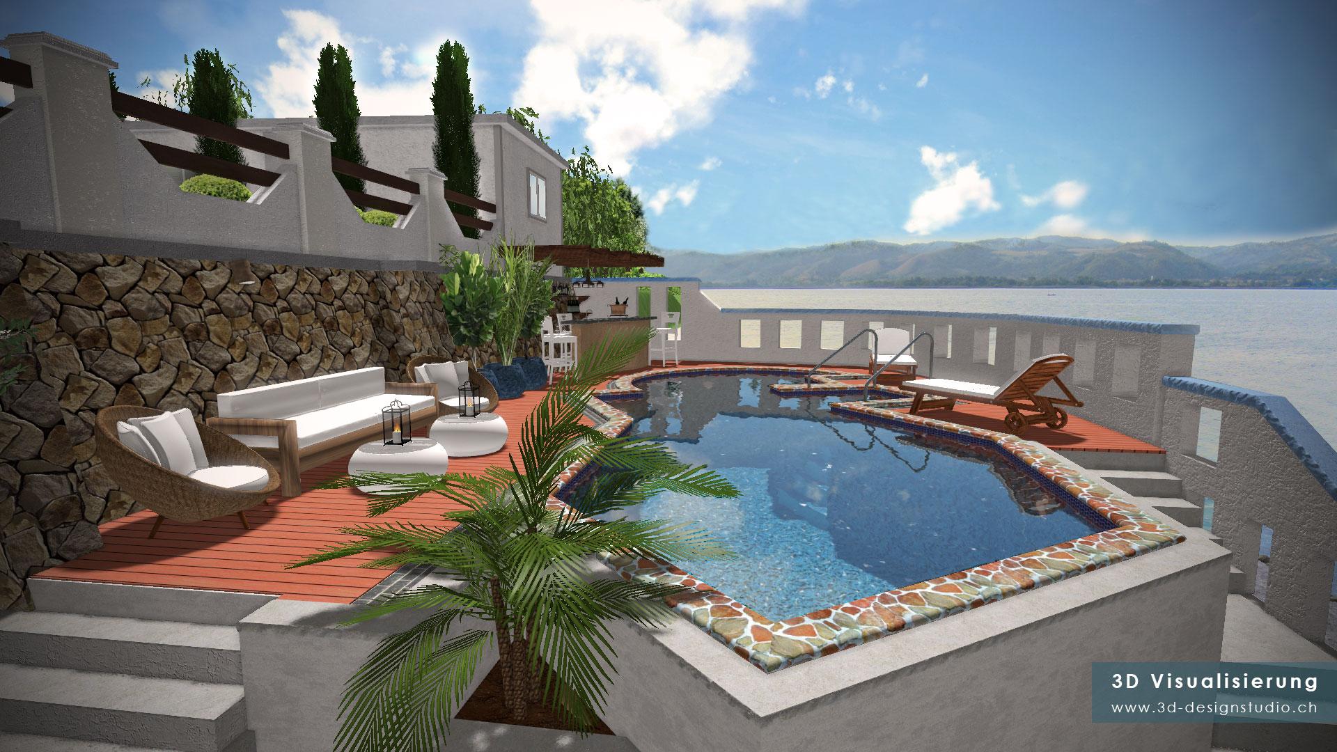 Aussenvisualisierung: Haus-Garten-Pool | 3D Design Vujic